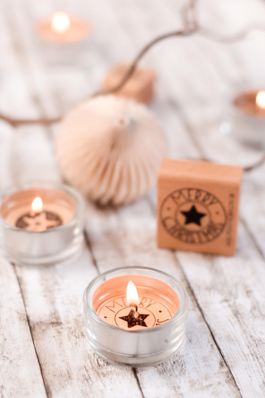 Inspiration bestempelte Teelichter Weihnachtlich zu dekorieren - Merry Christmas Stempel