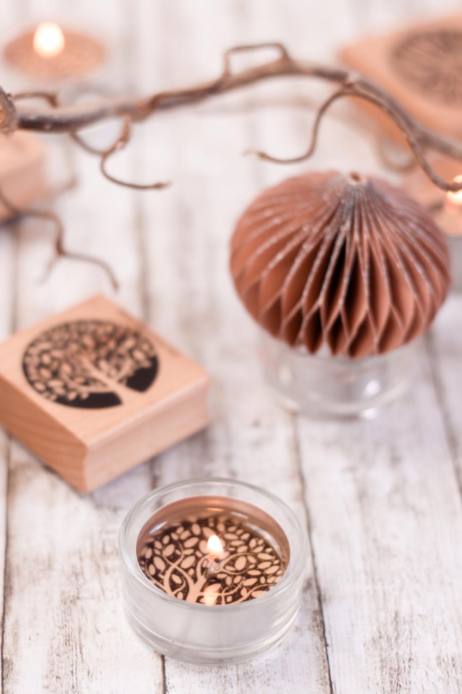 Inspiration bestempelte Teelichter Weihnachtlich zu dekorieren - Lebensbaum Stempel