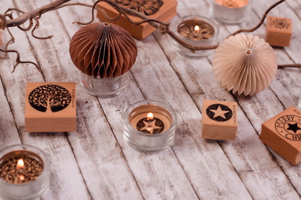 Inspiration bestempelte Teelichter Weihnachtlich zu dekorieren